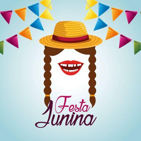 Banner de fiesta con mujer con sombrero y trenzas peinado ilustración vectorial