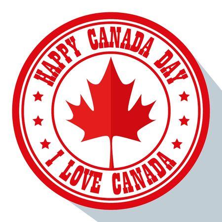 label of canada day celebration with leaf vector illustration Ilustração