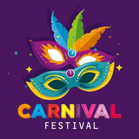 masks with feathers to carnival party celebration vector illustration 写真素材 - 124906589