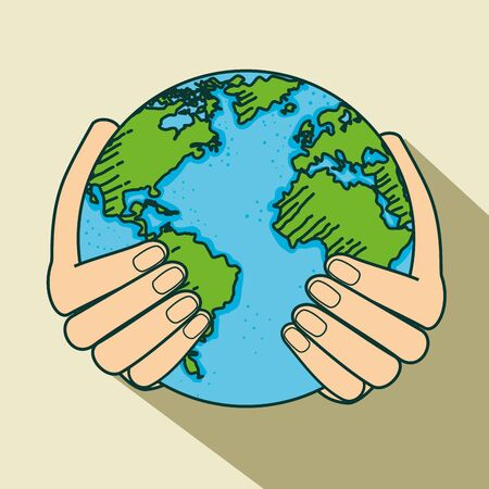 hand with ecology planet to earth day vector illustration Çizim