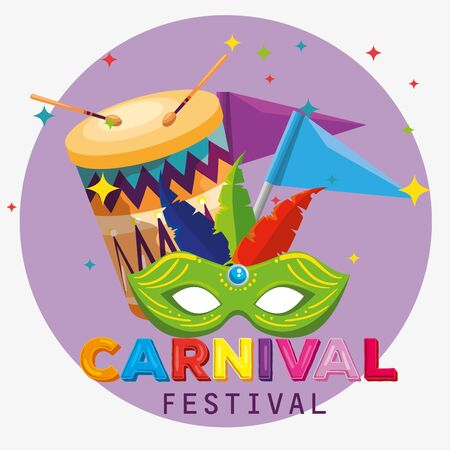 festival mask with feathers decoration and flag to carnival vector illustration 写真素材 - 124906610