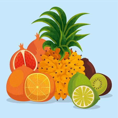 tropical healthy fruits with sweet tasty vector illustration