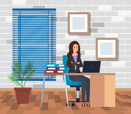executive businesswoman in the office with diplomas and books vector illustration Ilustrace