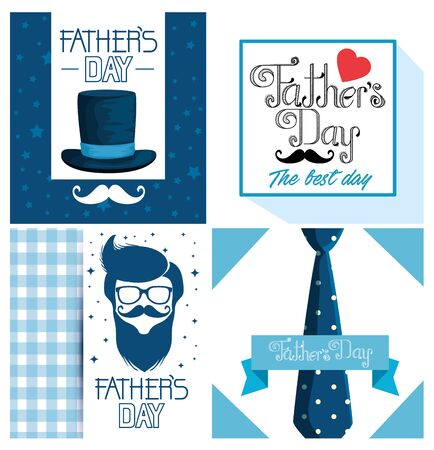 set fathers card decoration to holiday celebration vector illustration