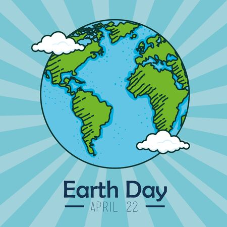 planet with clouds to earth day celebration vector illustration Illustration