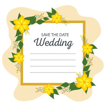 wedding card decoration with flowers and leaves to event vector illustration