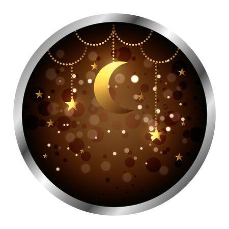 seal with golden moon ramadan kareem vector illustration design  イラスト・ベクター素材
