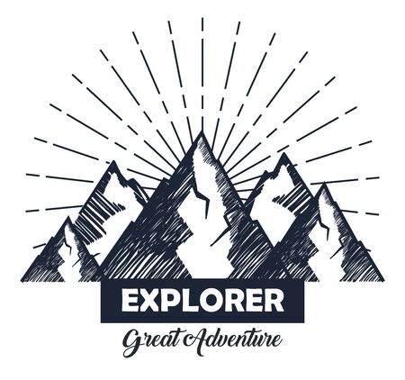 snowy mountains with ribbon to wanderlust explorer vector illustration