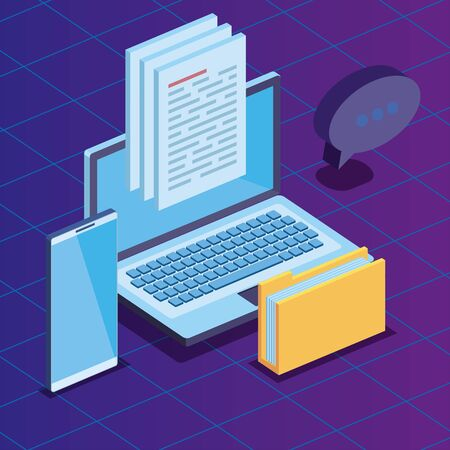 laptop and smartphone technology with folder documents and chat bubble vector illustration
