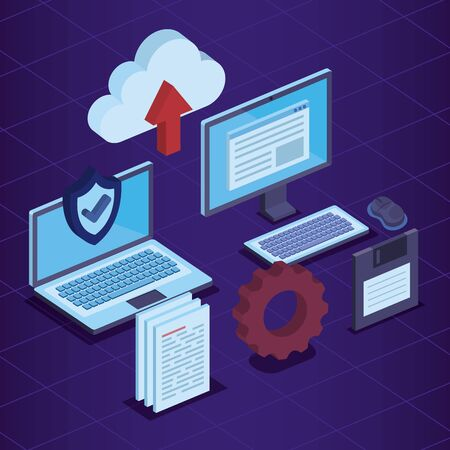 laptop and computer with shield security document to cloud data upload vector illustration
