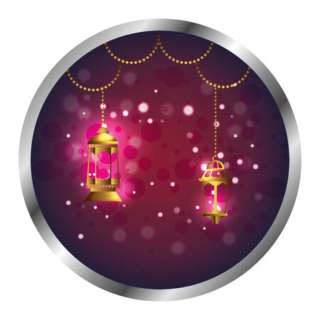 seal with ramadan kareem golden lamps hanging vector illustration design  イラスト・ベクター素材