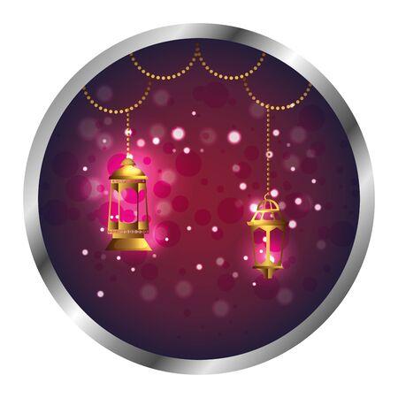 seal with ramadan kareem golden lamps hanging vector illustration design Illustration
