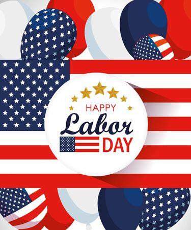 labor day celebration with usa flag vector illustration 일러스트