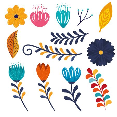 set flowers plants with branches leaves decoration to event vector illustration Stok Fotoğraf - 124907083