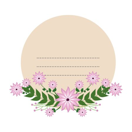 circular postcard with flowers and leafs decoration vector illustration design