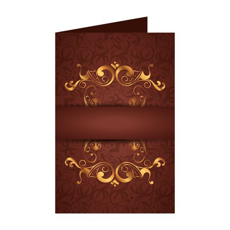 postcard with circular golden label victorian style vector illustration design  イラスト・ベクター素材