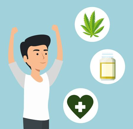 man with cannabis plant medicine and pills bottle vector illustration Illustration