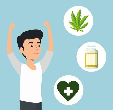 man with cannabis plant medicine and pills bottle vector illustration Иллюстрация