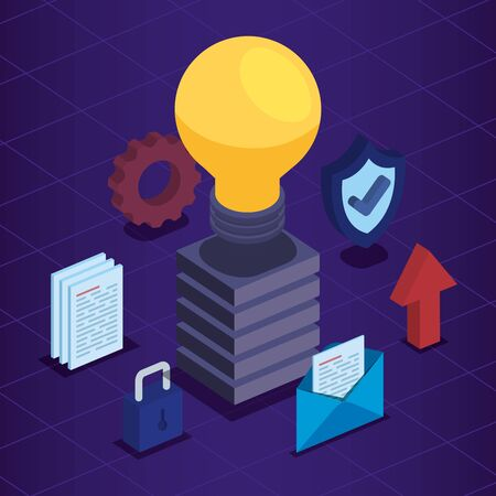 bulb with documents and shield with padlock security vector illustration Stock Illustratie