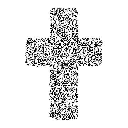 pierwsza komunia krzyż kwiatowy ozdoba projekt ilustracji wektorowych Ilustracje wektorowe