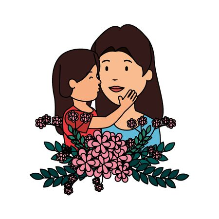 beautiful mother lifting daughter with floral decoration vector illustration design Ilustração
