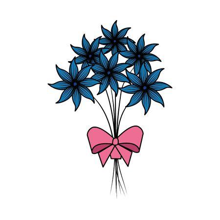 beutiful flowers bouquet with bowtie vector illustartion design