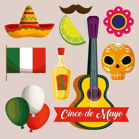 set mexican tradition event celebration vector illustration