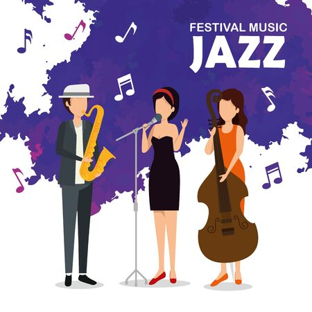 man and women play instruments to jazz festival vector illustration