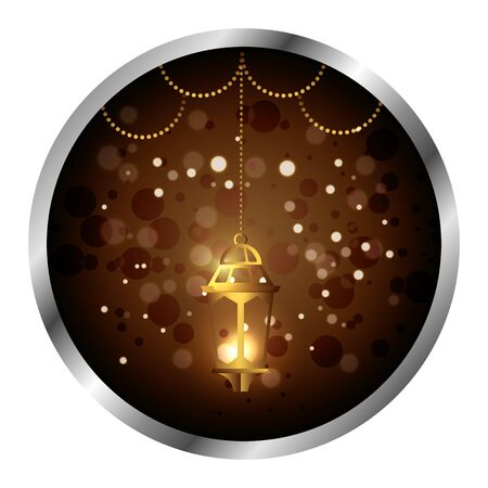 seal with ramadan kareem golden lamp hanging vector illustration design  イラスト・ベクター素材