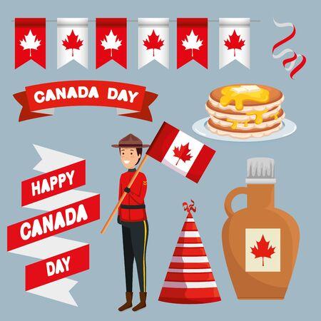 set of canada party banner to celebration holiday vector illustration Ilustração