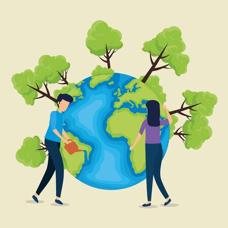 man and woman with planet to earth day vector illustration Çizim