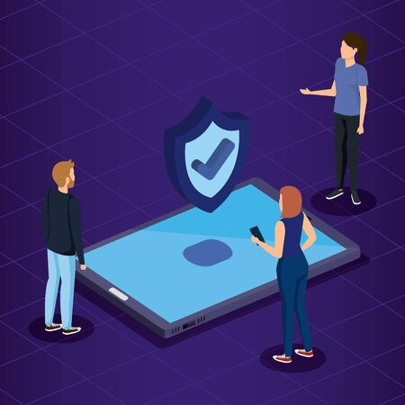 women and man with smartphone technology and shield security vector illustration