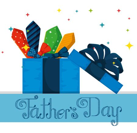fathers day celebration with present and ties vector illustration