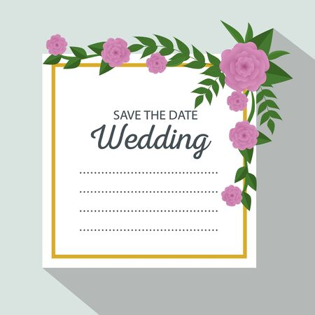 wedding card with flowers and leaves decoration vector illustration Illustration