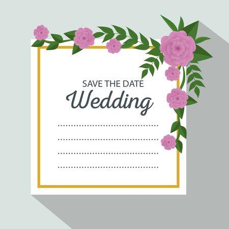 wedding card with flowers and leaves decoration vector illustration Ilustração