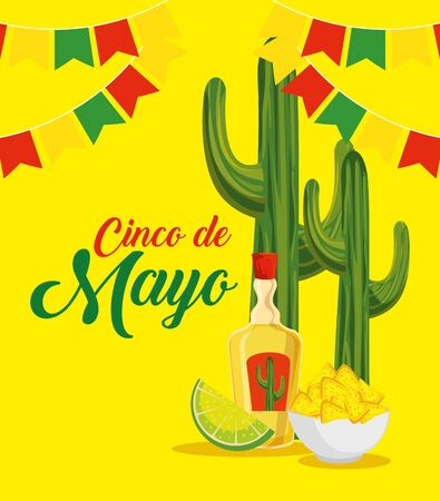 cactus with tequila and nachos to traditional event vector illustration Çizim