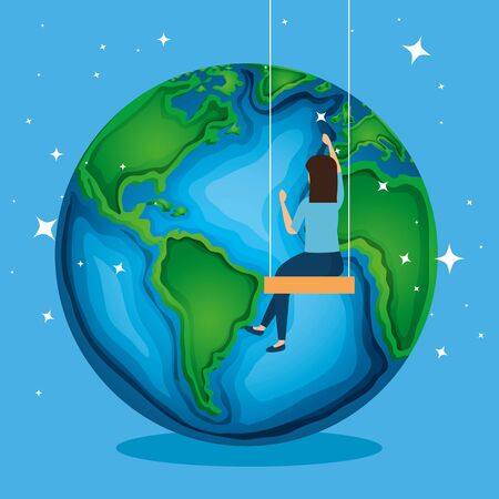 planet and woman in the swing to earth day vector illustration Çizim