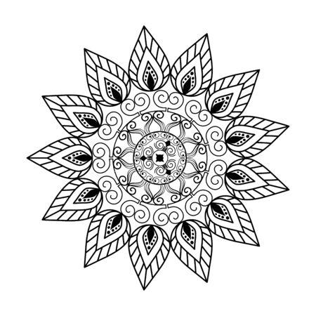 conception d'illustration vectorielle de style victorien mandala monochrome