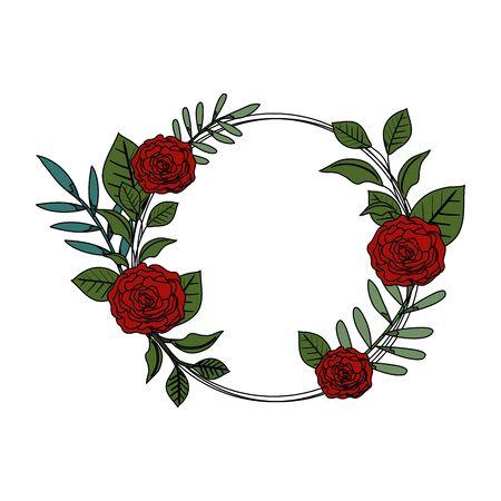 circular roses decoration icon vector illustration design  イラスト・ベクター素材