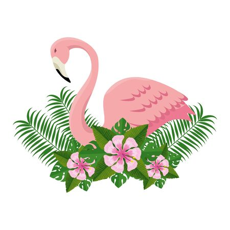 elegant flamingo bird with floral decoration vector illustration design  イラスト・ベクター素材