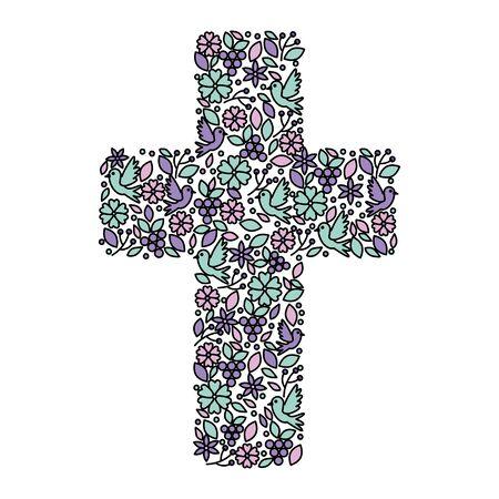 Primera comunión cruz decoración floral, diseño de ilustraciones vectoriales