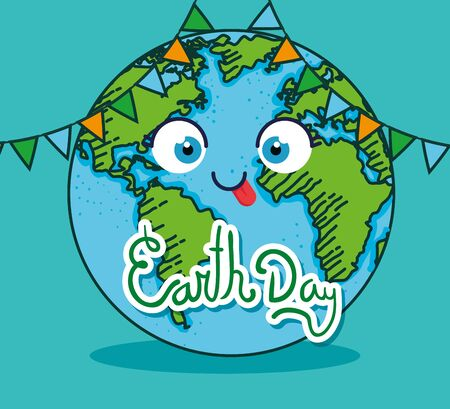 earth day and funny planet with party banner vector illustration
