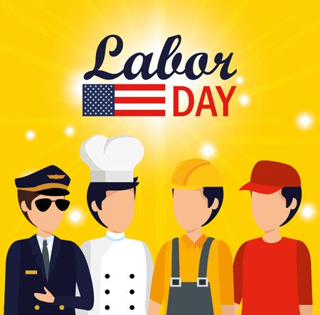 professional workers with usa flag to labor day vector illustration 일러스트