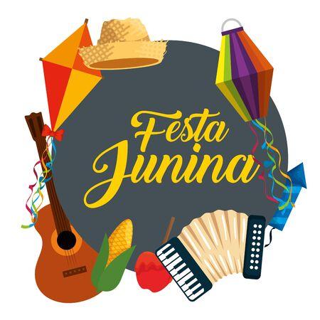 festa junina celebration with traditional decoration vector illustration
