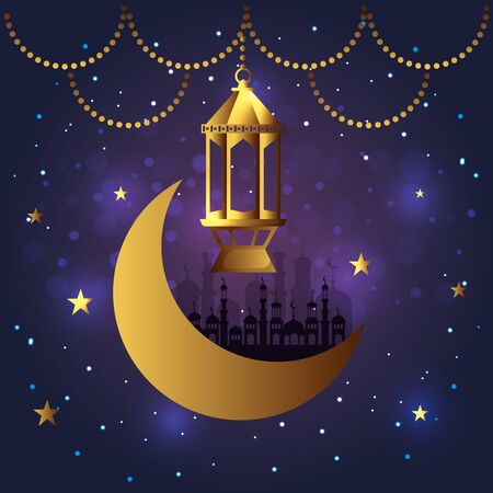 lamp with castle and moon hanging decoration vector illustration