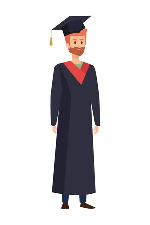 young man student graduated with beard vector illustration design