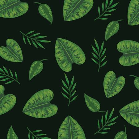 natural leaves and exotic branches plant background vector illustration Illustration