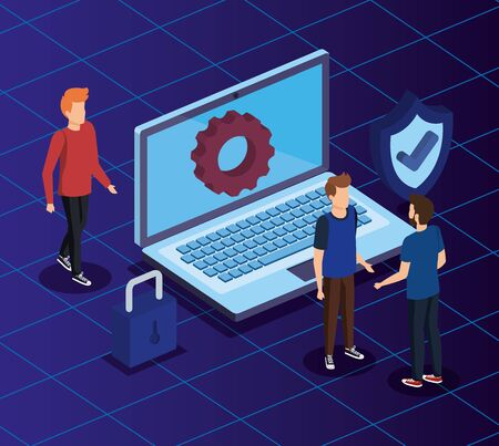 woman and men with laptop technology and shield security vector illustration