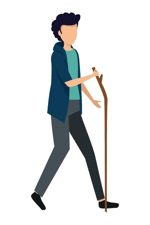 happy young man walking with wood stick vector illustration design