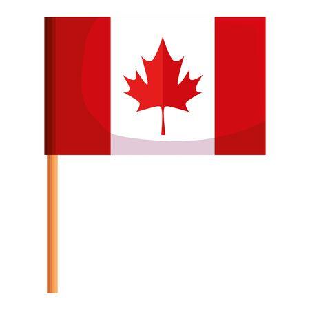canadian flag celebration day icon vector illustration design